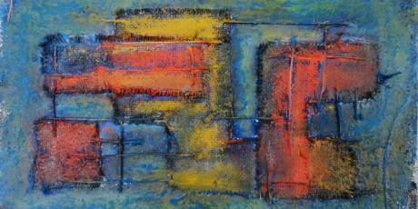 1. Space Occupancy #8. Oil on burlap (24x41 cms)