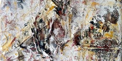 Decomposition #5 (Mixed media on burlap, 50 x 50 x 2,5 cms)